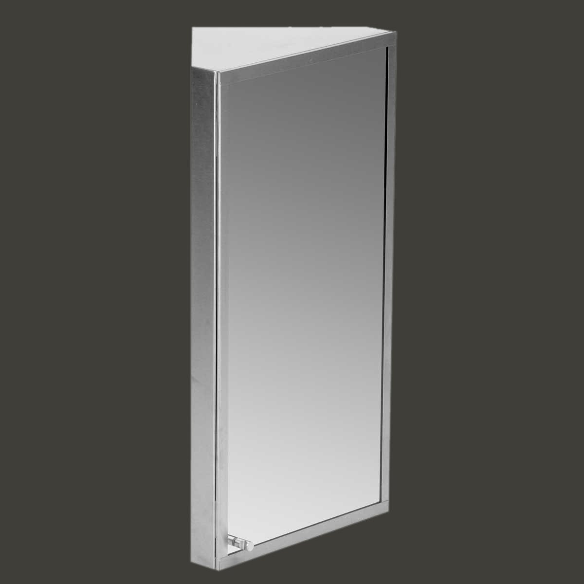 Corner Medicine Cabinet | Brushed Stainless Steel