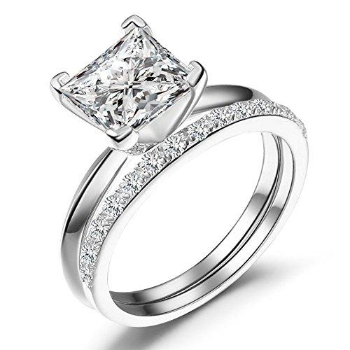 Caperci Sterling Silver Princess Cut Cubic Zirconia Bridal Engagement Wedding Ring Set Size 7 (Engagement Rings Princess Cut compare prices)