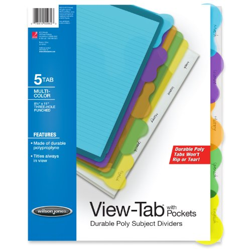 Wilson Jones View-Tab Transparent Dividers, Student Index with Pockets, 5-Tab Set