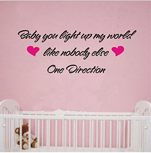 Dnven Baby You Light up My World Like Nobody Else One Direction Home Vinyl Wall Decals Quotes Sayings Words Art Decor Lettering Vinyl Wall Art (Wall Decals Quotes One Direction compare prices)