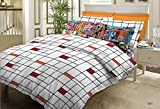 Bombay Dyeing Metro Cotton Double Bedsheet with 2 Pillow Covers - Black and Orange