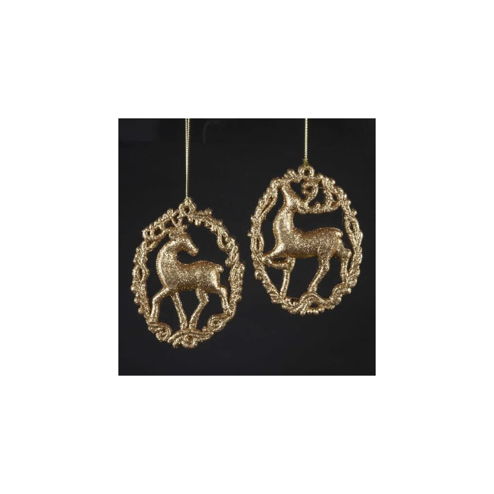 Club Pack of 24 Oval Framed Gold Glitter Reindeer Christmas Ornaments 5