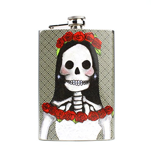Flask for Men for Liquor, Vodka, Whiskey or Gin - Great as a Wedding Flask - Hip Flasks - 8 oz (Day of the Dead - (Day Of The Dead Party Ideas)