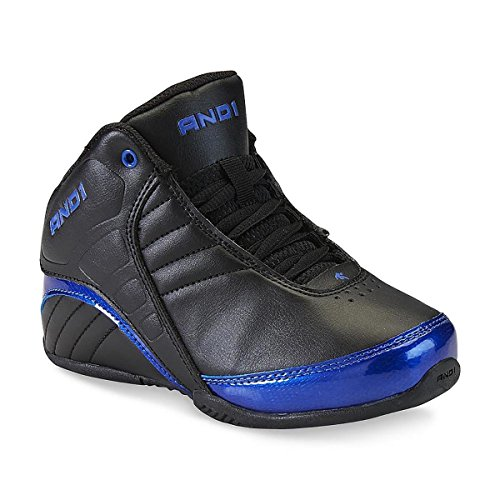 AND1 Mens Rocket Mid 3.0 Basketball Shoes, Black and Blue, 7