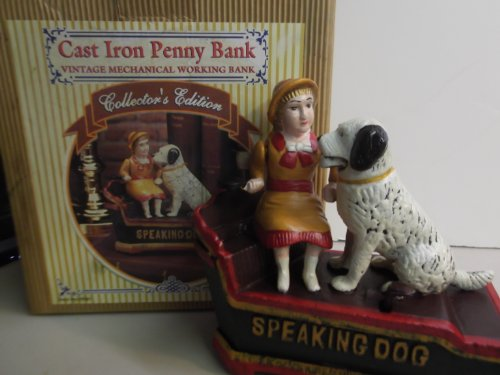 Cast Iron Penny Bank Speaking Dog - 1