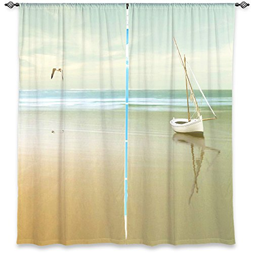 Window Curtains Lined from DiaNoche Designs Artistic, Stylish, Unique, Decorative, Fun, Funky, Cool by Carlos Casamayor – Soft Sunrise On Beach I