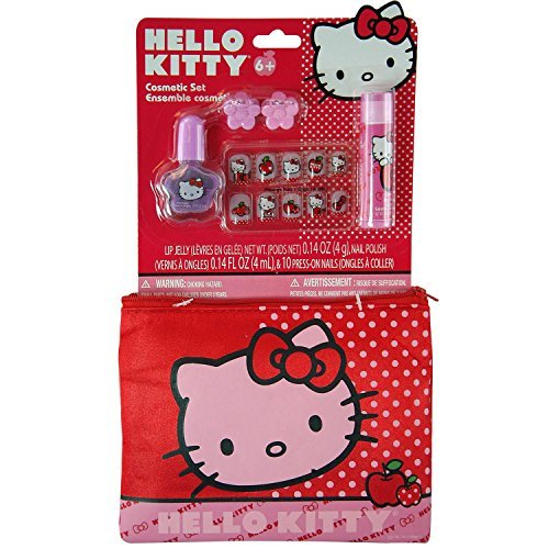 14pc Sanrio Hello Kitty Hair Pretend Play Cosmetic Accessory Clutch Pouch Set