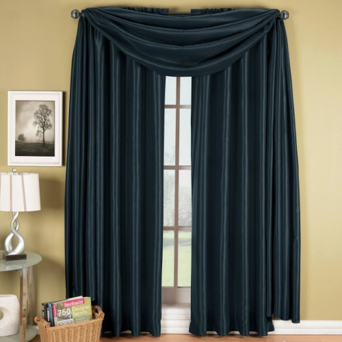Luxury Soho Navy Rod Pocket Window Curtain Drape, Solid Pattern, 42X96 Inches, By Royal Hotel