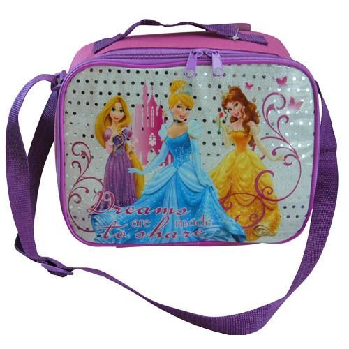 "Disney Princess ""Dreams are made to share"" Pink & Purple Rectangle Lunch Bag Box with Strap - 1"