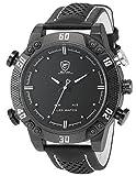 Shark Herren Armbanduhr XXL Leder Uhrband Analog LED Anzeige mit
