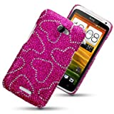 HTC ONE X LOVE HEARTS DIAMANTE DISCO BLING BACK COVER BY CELLAPOD CASESby CELLAPOD