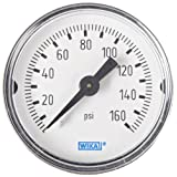 WIKA 9690242 Commercial Pressure Gauge, Dry-Filled, Copper Alloy Wetted Parts, 1-1/2
