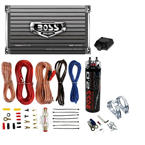 Boss AR1500M 1500W MONO Car Amplifier + Remote + 2.0 Farad Capacitor + Amp Kit