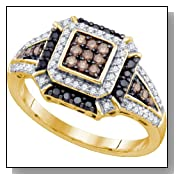 0.53 Carat Chocolate Brown And White Diamond 10K Yellow Gold Womens Ladies Wedding Anniversary Fashi