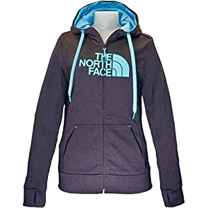 The North Face - Women's Fave Half Dome Full Zip Hoodie - Asphalt Grey Heather/Mint Blue-S4Y - Large
