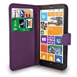 Nokia Lumia 1320 Dark Purple Leather Wallet Flip Case Cover Pouch + Free Screen Protector + Polishing Cloth