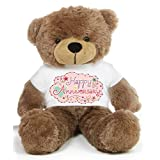 Brown 2 Feet Big Teddy Bear Wearing A Happy Anniversary T-shirt