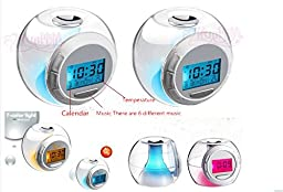 Morning Clock Alarm Clock Projection with 7 Color Changing Alarm Clock with 6 Different Soothing Sounds
