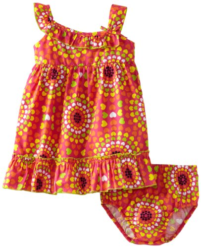 Lilybird Baby-Girls Infant Color Print Dress, Orange, 24 Months