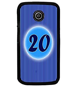 PrintDhaba Numerology Number 20 D-2578 Back Case Cover for MOTOROLA MOTO E (Multi-Coloured)