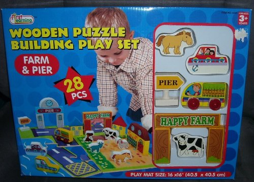 Cheap First Learning Wooden Puzzle Building Play Set – FARM AND PIER 28 pcs (B0051401EU)