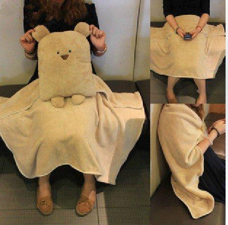 Zuwit 3 In 1 Bear Travel Blanket & Hand Warm & Pillow Set Adults Kids Throw Pillow Cushion front-420130