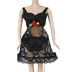 Imported Lace Trim Clothes Pajamas Underwear Set for Barbie Dolls Black