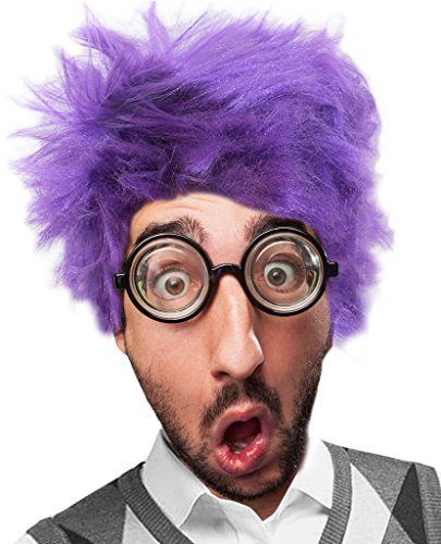 Costume Adventure High Anxiety Purple Fearful Feelings Wig and Glasses Costume Set
