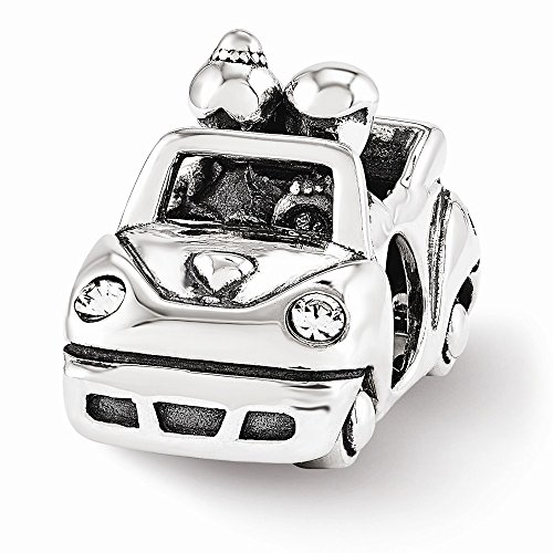Sterling Silver Reflections Swarovski Just Married Car Bead