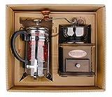 Tolles Kaffee Geschenk Set - 2 teilig - 1 Kaffeemühle Holz und einem Kaffebereiter- Stempelkanne das perfekte Geschenk