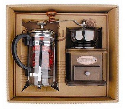 Tolles Kaffee Geschenk Set - 2 teilig - 1 Kaffeemühle Holz und einem Kaffebereiter- Stempelkanne