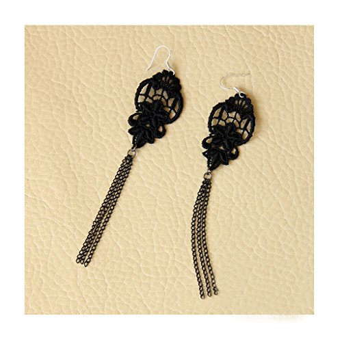 Jelinda Women's Charming Handmade Long Chain Lace Tassel Ear Hook Earrings