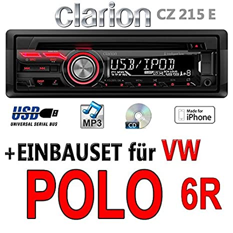 VW polo 6R-clarion cZ215E-autoradio mP3/uSB avec kit de montage