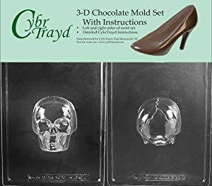 Cybrtrayd H167AB Medium 3D Skull Chocolate Candy Mold with 2 Molds and Exclusive Cybrtrayd... by CybrTrayd