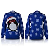 SHUKAN FASHIONS - WOMEN LADIES CHRISTMAS NOVELTY SNOWBALL PENGUIN LUREX ROYAL BLUE KNITTED JUMPER