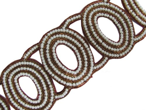 Belt Style Oval Shape Bronze Bullion Beaded Trim 1.5 Yd