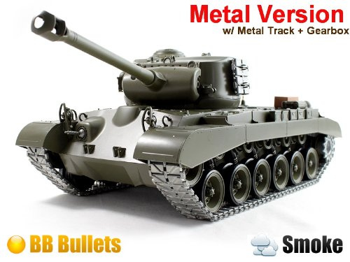 1/16 Remote Control Snow Leopard M26 Air Soft RC Battle Tank Smoke & Sound (Upgrade Version w/ Metal Gear & Tracks)
