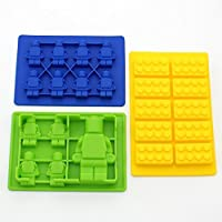 Zicome Set of 3 Candy Molds and Ice Cube Trays - Lego Building Bricks and Figure Molds for Lego Lovers