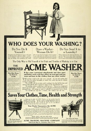 1907 Ad Acme Washer Washing Machine Vintage Child Girl Laundry Clothes Washday