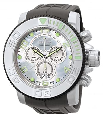 Invicta Men's 0861 Sea Hunter Pro Diver Chronograph Platinum Mother-Of-Pearl Dial Grey Polyurethane Watch by Invicta