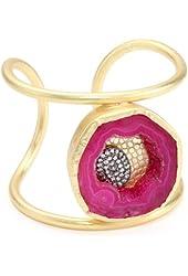 """Zariin """"Agate Statement"""" Agate Gold Cuff Bracelet"""