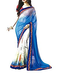 Yug Bansal Women's White and Blue Chiffon Saree