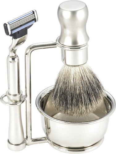 Swissco 5-Piece Shave Set, Brushed Nickel, Badger, Mach 3 with Soap, 17.7-Ounce Box