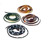 """Set of 12 - Rubber 42"""" Coiled Rubber Prop Toy Snakes"""