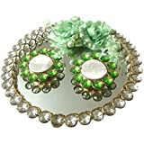 Loops N Knots Green Wedding/ Engagement Ring Platter With 2 Ring Holders