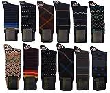 Mens Colorful Fancy 90% Premium Cotton Fashion Designer Dress Socks(12 Pairs)