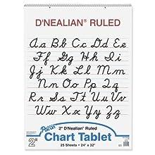"D'Nealian Chart Tablet, 24""X32"", Cursive, 25 Sheets"