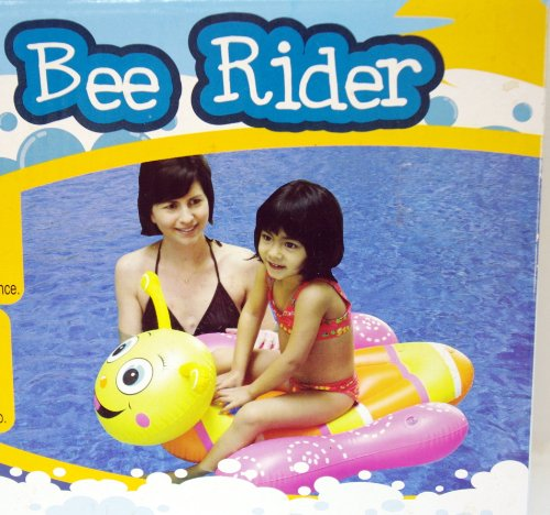 "Bee Rider Kid's Unique Inflatable Swimming Float 35.8"" X 28.7"" - Pink Yellow & Orange - 1"