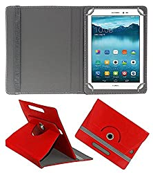 ECellStreet 360° Degree Rotating 7 Inch Flip Cover Diary Folio Case With Stand For Iberry Auxus AX02 - Red