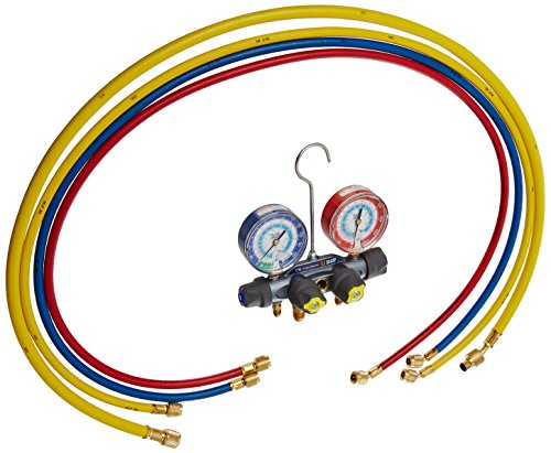 Yellow Jacket 49987 Titan 4-Valve Test and Charging Manifold degrees F, psi Scale, R-22/134A/404A Refrigerant, Red/Blue Gauges (3 8 Evacuation Hose compare prices)